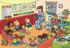 def_classe_copier Très nombreuses illustrations OK OK OK Picture Comprehension, Picture Composition, Hidden Pictures, Picture Story, I School, Speech And Language, Teaching English, Cute Drawings, Preschool Activities