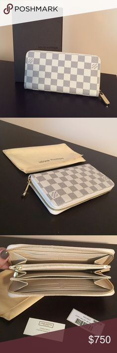 "Louis Vuitton Leather Zippy Wallet in Damier Azur NEW with authenticity tags, box and dust pocket* Details: Signature ""Damier Azur"" checkered pattern - 19 x 10 cm. -Eight credit card slots -Open compartment for banknotes -Zippered compartment for coins -Three large compartments for papers and passport -Two inside patch pockets Louis Vuitton Bags Wallets"