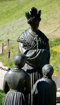 Statue of Our Lady of La Salette with the child visionaries who saw her. (Statue is at exact location - among three -where Our Lady appeared.) . . . More about this here . . ..http://corjesusacratissimum.org/2012/06/our-lady-of-la-salette-part-i-the-apparition/