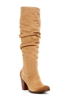 Round toe - Pull-on - Suede construction - Slouched shaft detail - Stacked heel