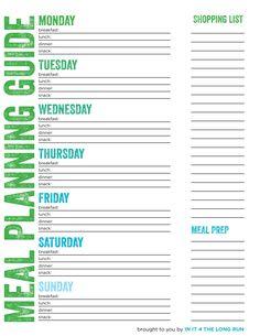 Free Printable Weekly Meal Plan Template | Planos de refeições ...