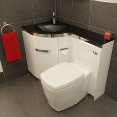 Corner Basin Unit Fitted Bathroom Furniture : toilet sink combo units with green decor clever corner sink and toilet ...