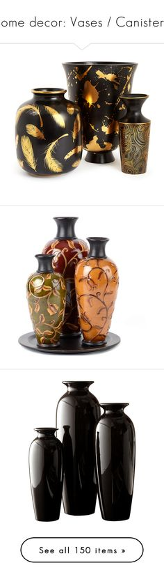 """""""home decor: Vases / Canisters"""" by menchu10 ❤ liked on Polyvore featuring home, home decor, vases, jonathan adler vase, jonathan adler home decor, jonathan adler, decor, bronze home decor, floral vases and set of three vases"""