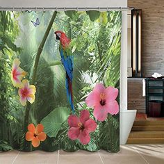 Alicemall Flower Bird 3D Bathroom Shower Curtain Unique Parrot Green Forest Bath Polyester Waterproof