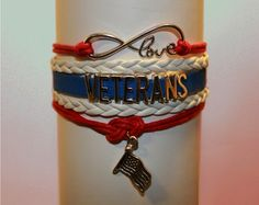 Show your LOVE and SUPPORT for those who have sacrificed so much for us with this VETERANS infinity charm bracelet. Old Glory waves in the wind