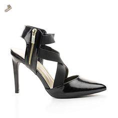 Steppup09 Black Lizard Pointy Toe Elastic Criss Cross Stiletto Dress Heel Pumps-7.5 - Sullys pumps for women (*Amazon Partner-Link)