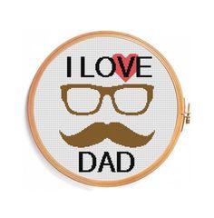Cross stitch pattern I LOVE DAD. by PatternsCrossStitch on Etsy