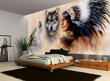 Lovely Native American Wolves Vintage Wall Mural Photo Wallpaper GIANT WALL DECOR Part 16