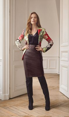 Fall 2016 | Filter | Lookbook | Etcetera Dark wine textured leather pencil skirt and OTK boots