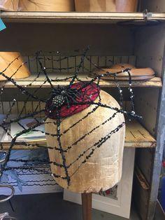 Black Widow Spider Web Cocktail Hat Fascinator.  by ChefBizzaro