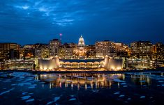 Monona Terrace after dark. This picture was taken by Paulie Fred of Madison Wisconsin. Monona Terrace, Madison Wisconsin, World Cities, Time Travel, Travel Inspiration, New York Skyline, Beautiful Places, City, Lloyd Wright