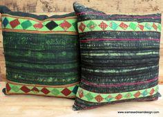 Authentic Hand Drawn Indigo Blue Batik & Appliqué Hmong Pillow / Cushion Covers, Siamese Dream Design /// TAFA Market: The Black Collection, http://www.tafaforum.com/market/tafa-market-colors/