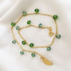 Wrap Bracelet (2 wraps) - Swarovski Briolette Bead Peridot Hung on Gold Filled Chain