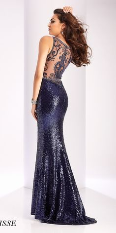 Sexy Sequin Navy Blue Evening Dress. Colors: Navy. Size: 00-12