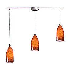 image of ELK Lighting Verona 3-Light Pendant Ceiling Lamp in Satin Nickel/Espresso Glass