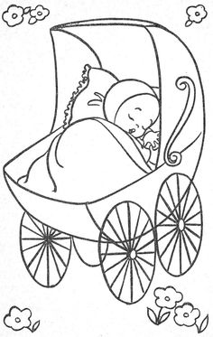 just the drawing no other info that I could find. Baby Embroidery, Hand Embroidery Patterns, Vintage Embroidery, Embroidery Designs, Coloring Pages For Kids, Adult Coloring, Baby Kind, Coloring Book Pages, Digi Stamps