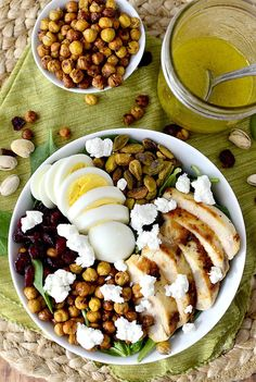 Chicken power bowl salad with crispy baked garbanzo beans. Must try this recipe soon!