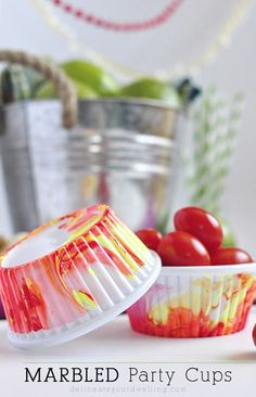 Marbled Party Cups submitted to InspirationDIY.com