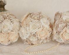 Fabric Flower and Brooch Wedding Bouquet by MyVintageWeddingAust