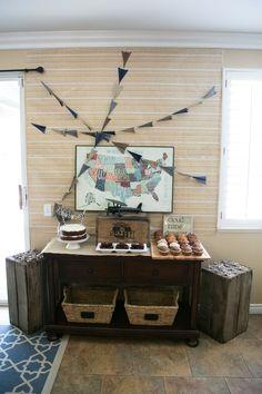 Vintage Travel Themed Baby Shower Dessert Table
