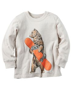 Toddler Boy Long-Sleeve Snowboard Bear Graphic Tee from Carters.com. Shop clothing & accessories from a trusted name in kids, toddlers, and baby clothes.