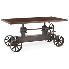 L Dining crank table industrial design black iron adjustable teak wood top