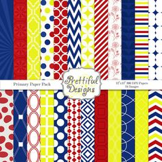 50 OFF SALE Digital Paper Pack in Blue Red and by PrettifulDesigns, $2.00