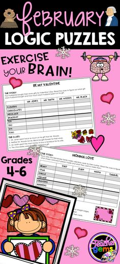 Challenge your students to improve their higher-order thinking skills with these February theme grid logic puzzles! Groundhogs Day, Valentine's Day and President's Day are all included! #TeacherGems