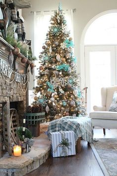 christmas-tree-with-silver-gold-and-copper-accented-with-turquoise