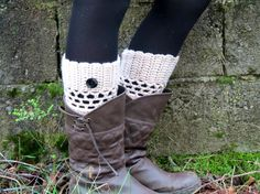 Tan Short Knit Boot Cuffs with black button Short by EmofoFashion, $17.65