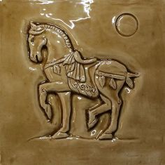 Ceramic bas relief Chinese Warrior Horse in Caramel glaze Chinese Culture, Chinese Art, Year Of The Horse, Feature Tiles, Earthenware Clay, Majestic Animals, Animal Decor, Beautiful Gifts, Green And Grey