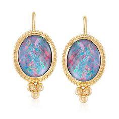 """Ross-Simons - Blue Opal Triplet Drop Earrings in 14kt Yellow Gold. 3/4"""" - #863621"""