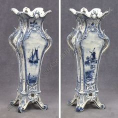 "13: VINTAGE ROYAL BONN ""DELFT"" FAIENCE POTTERY VASE : Lot 13"