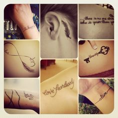 How I Love Tattoos: Meaningful handwritten words & Symbols.. Small & Very Detailed.. Always look amazing