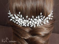 Bridal hair comb Wedding hair comb Bridal headpiece Wedding hair piece Pearl hair comb Pearl hair piece, hair jewelry by KiCrown on Etsy