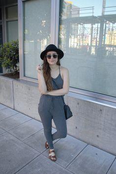 Portland, Oregon, Pearl District, summer, fashion, city, industrial, gray jumpsuit, jumpsuit,