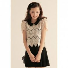 $7.78 Sweet Pan Collar Lace Splicing Fake Two Piece Short Sleeve Dress for Women