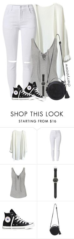 """Monochrome casual spring outfit"" by cherrysnoww ❤ liked on Polyvore featuring J.Crew and Converse"