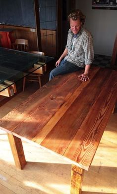 Salvaged fir planks find new life as a dining table, thanks to the handiwork of James Taylor at Seattle RE Store. - Pacific NW Magazine, Seattle Times