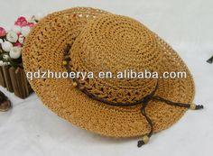 de papel de paja crochet verano playa sombrero