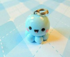 Kawaii Charm Blue Baby Octopus by JollyCharms on Etsy. Adorable little guy. Crea Fimo, Polymer Clay Kawaii, Polymer Clay Animals, Fimo Clay, Polymer Clay Projects, Polymer Clay Charms, Polymer Clay Jewelry, Clay Crafts, Fimo Kawaii