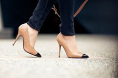 neutral colored heels.