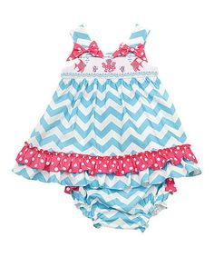 Turquouse & White Zigzag A-Line Dress & Diaper Cover - Infant #zulily #zulilyfinds
