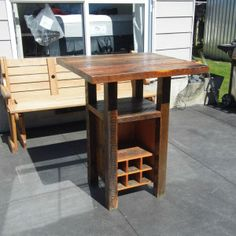 Reclaimed Oregon Wine Bar Leaner Outdoor Bars, Bar Tables, Outdoor Furniture, Outdoor Decor, Man Cave, Oregon, Diy Projects, Wine, Ideas