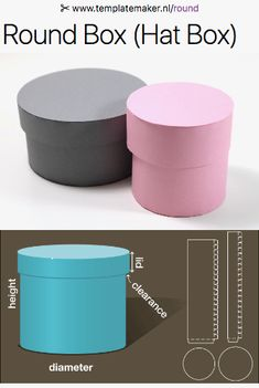 Free custom Round Box (Hat Box)-templates from ✂︎ templatemaker.nl/round you can make it any size you want, just enter in the depth and circumference of the parts and you can print it out Box Template Printable, Paper Box Template, Diy Gift Box, Diy Box, Custom Packaging, Gift Packaging, Diy Paper, Paper Crafts, Round Gift Boxes