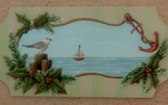 Nautical Christmas Seagull Rope Anchor Decoration