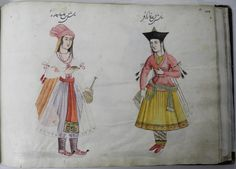 Album leaf; double portrait of an Indian woman (left) facing opposite a Georgian woman (right).  Indian woman holds a small, shallow cup in one hand an a large vessle in the other.  A turban wraps around her head, with a long shawl extending towards the ground.  Three strands of beads hang from her neck, while a translucent skirt draps over her pants, tied at her waist by a long sash.  The Georgian woman holds a piece of fruit (unidentifiable) in one hand, while the other clutches her sash…