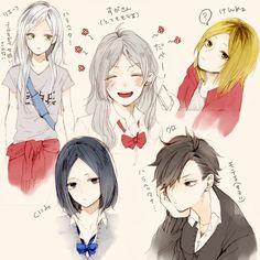 Lev, Kenma, and Kuroo Kagehina, Kuroo Tetsurou, Daisuga, Kuroken, Bokuaka, Haikyuu Manga, Haikyuu Genderbend, Haikyuu Funny, Haikyuu Fanart