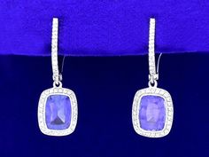 Cushion Cut Blue Sapphire earrings with 0.51 total carat weight pave Bez Ambar mounting
