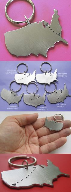 A keychain that is custom stamped with little hearts in your two locations!  This would be awesome to give to a graduating senior or a boyfriend/girlfriend in a long distance relationship